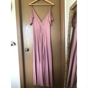 Lulus Off Shoulder Blush Maxi Dress Women's Size 8